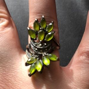 Antique Peridot and Marcasite ring